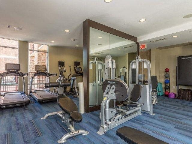 24- Hour Fitness Center features both cardio and strength equipment at Windsor on the Lake, 43 Rainey Street, TX 78701