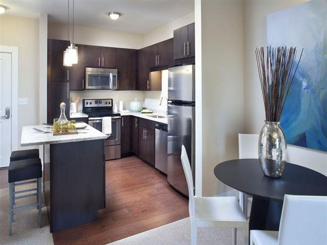 Open Concept Kitchen at Vox on Two Apartments in Cambridge