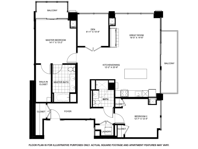 White Tower Floor Plan | Flair Tower 1 2 3 Bedroom Apartments In Chicago Il Floor Plans