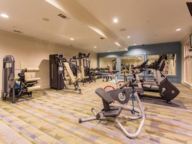 Our gym features cardio equipment, weight equipment and free weights At Trianon by Windsor,2820 McKinnon Street, Dallas, TX,75201