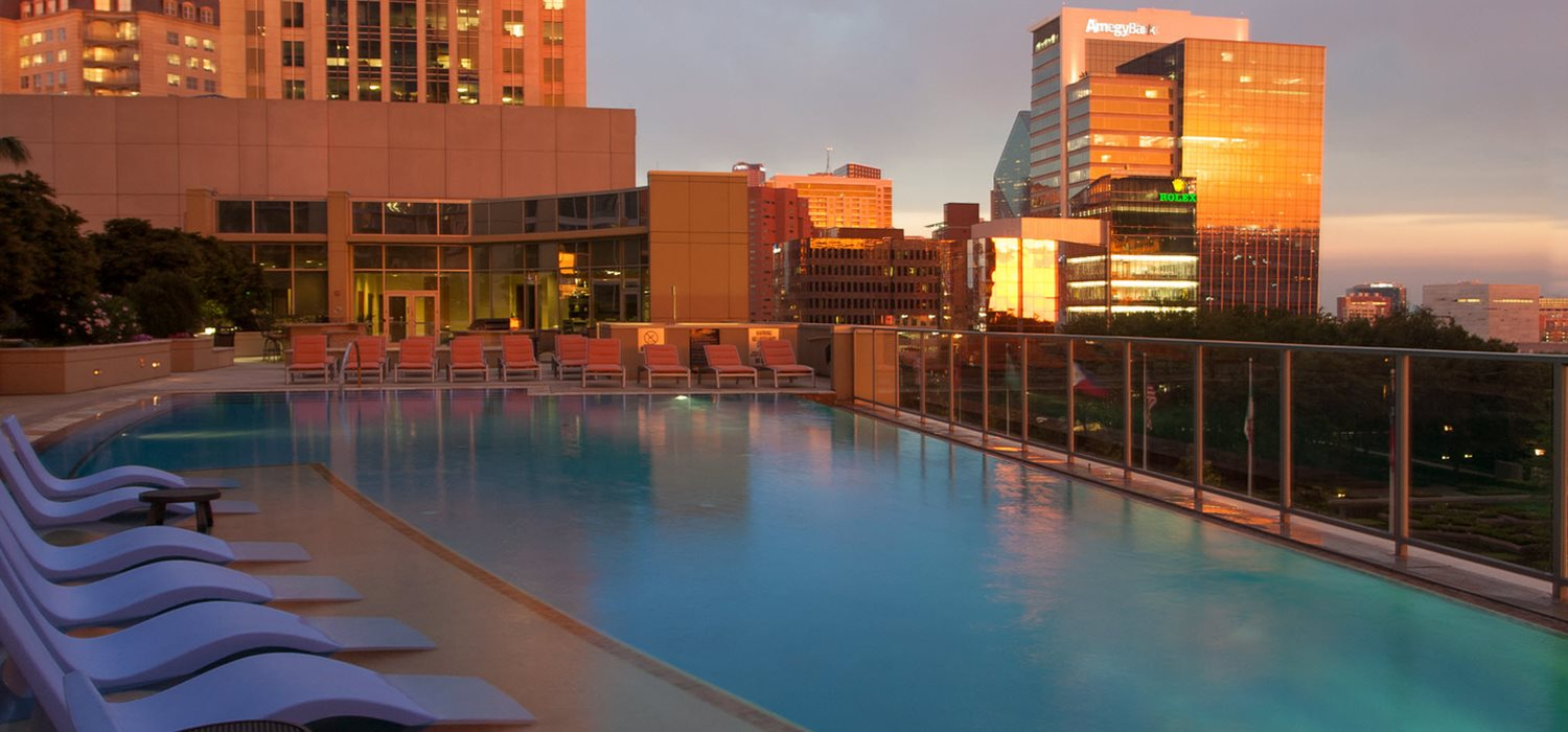 Infinity edge pool overlooking Downtown Dallas & Victory Park  at Glass House by Windsor, Dallas, TX, 75201