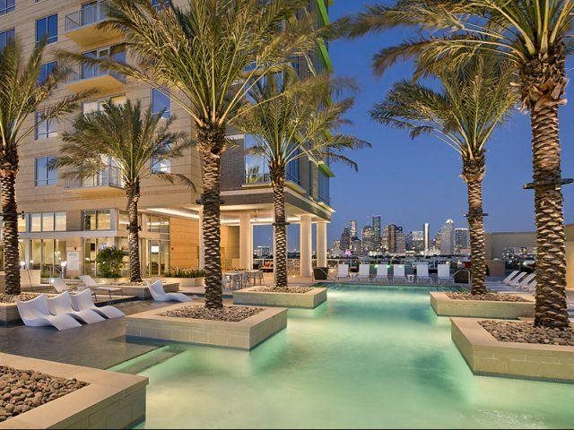 Luxurious 75' lap pool with sun lounge, at The Sovereign at Regent Square, TX