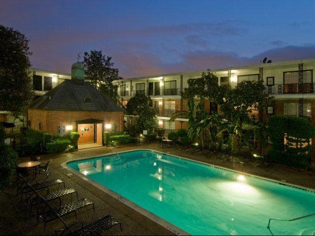 Two sparkling pools with sun decks await you At Allen House Apartments, TX 77019 At Allen House Apartments,3433 West Dallas Street, Houston, TX 77019
