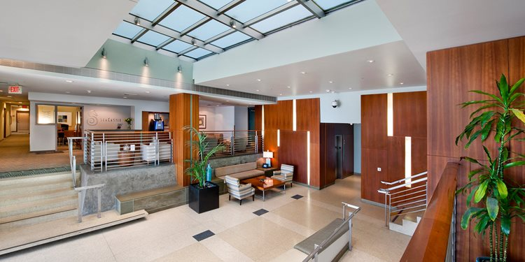 Renovated Resident Lobby at Sea Castle, Santa Monica, CA