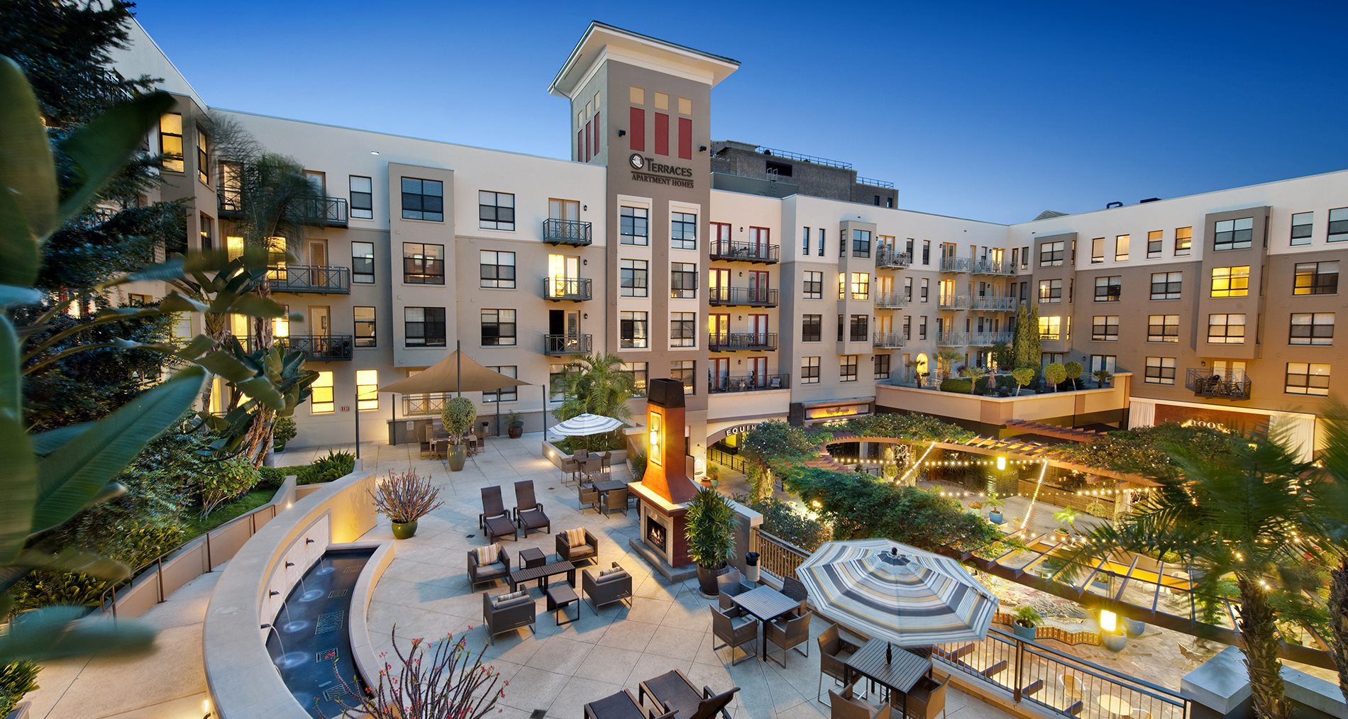 Outdoor Terraces with BBQ and Fireplace at Terraces at Paseo Colorado, Pasadena, CA, 91101