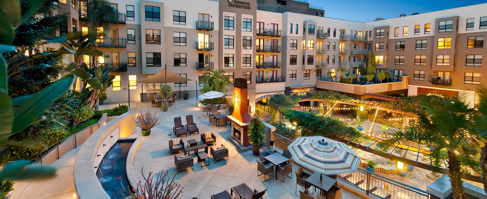 BBQ and Fireplace at Terraces at Paseo Colorado, has Outdoor Terraces with BBQ and Fireplace at Terraces at Paseo Colorado, CA
