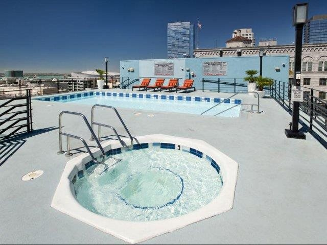 Relaxing Jacuzzi and Heated Pool at Renaissance Tower, Los Angeles, California