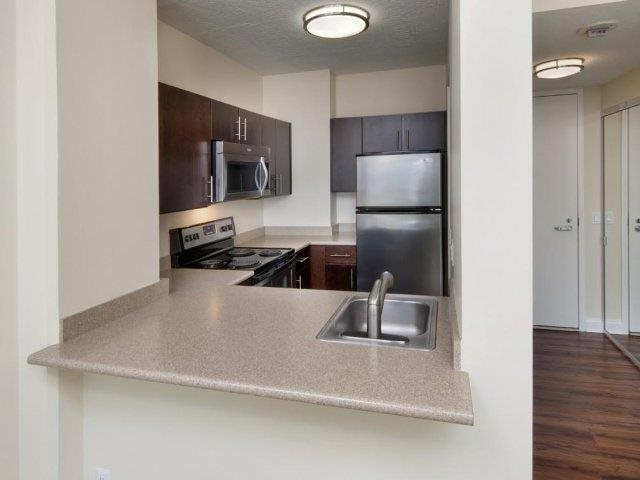 Renovated Kitchen Finishes at Renaissance Tower, California, 501 W. Olympic Boulevard