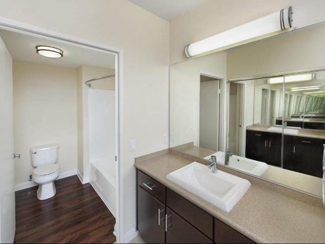 Renovated Bathroom Finishes at Renaissance Tower, 501 W. Olympic Boulevard, CA 90015