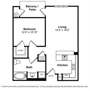 One Bedroom Floorplan at Windsor Lofts at Universal City