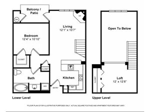 One Bedroom with Loft Floorplan at Windsor Lofts at Universal City