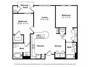 Two Bedroom Floorplan at Windsor Lofts at Universal City