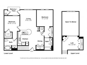 Two Bedroom with Loft Floorplan at Windsor Lofts at Universal City