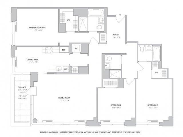 Studio, 1, 2 & 3 Bedroom Apartments | Floor Plans | The Ashley