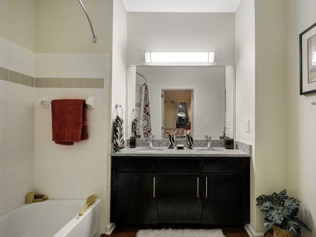 Windsor at Liberty House Apartments Ocuppied with Solid Cultured Marble Bathroom Counter Tops