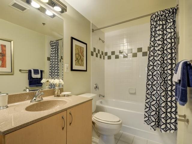 Spacious bathrooms with oversized soaking tubs.