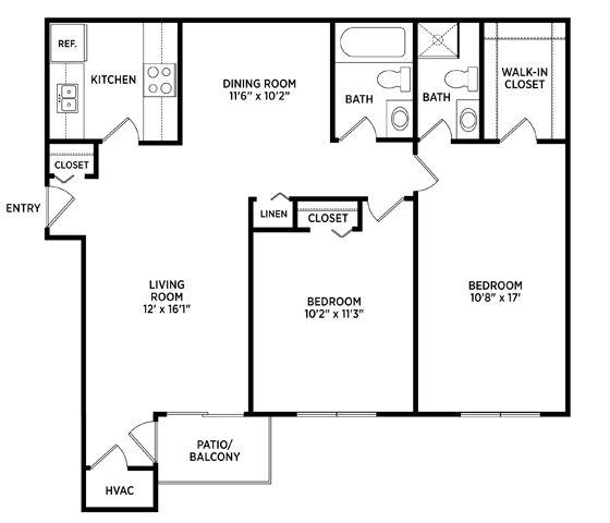 2 bedroom floor plan Eastwind Apartments in East Lansing Michigan