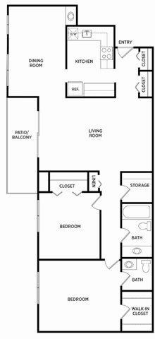 2 Bedroom 1.5 Bath Deluxe Floor Plan 6
