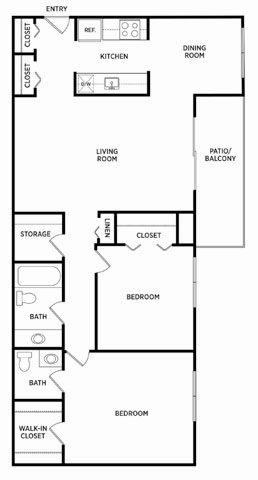 2 Bedroom 1.5 Bath Dining Floor Plan 5