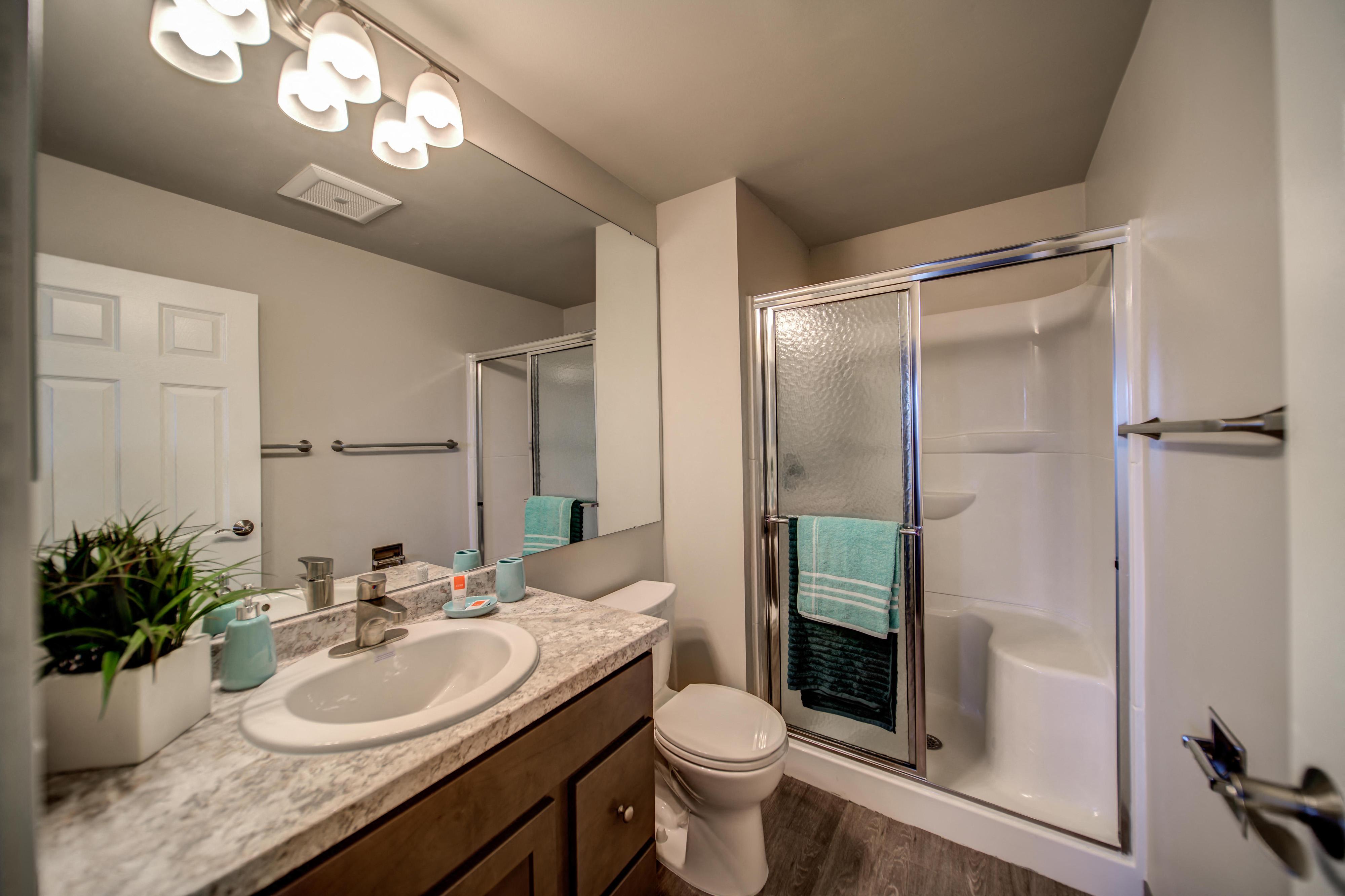 Sliding Glass Shower in Bathroom