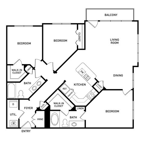 3 bedroom floor plan Vista at the Heights Eastwood Apartments