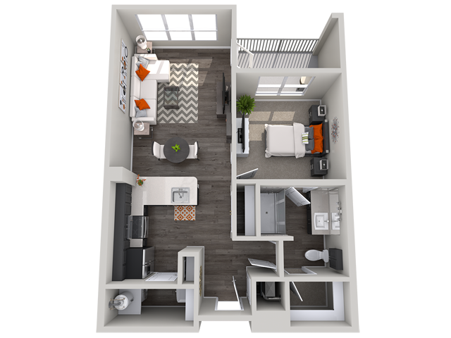 1 bedroom floor plan Vista at the Heights Eastwood Apartments