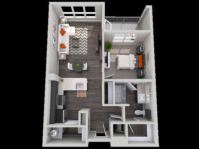 1 bedroom floor plan Vista at the Heights Eastwood Apartments