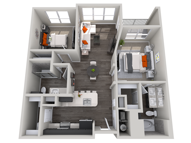 2 bedroom floor plan Vista at the Heights Eastwood Apartments