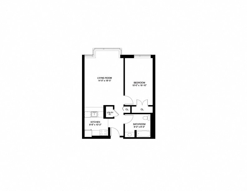 Market Wait List - 1 Bedroom Floor Plan 1