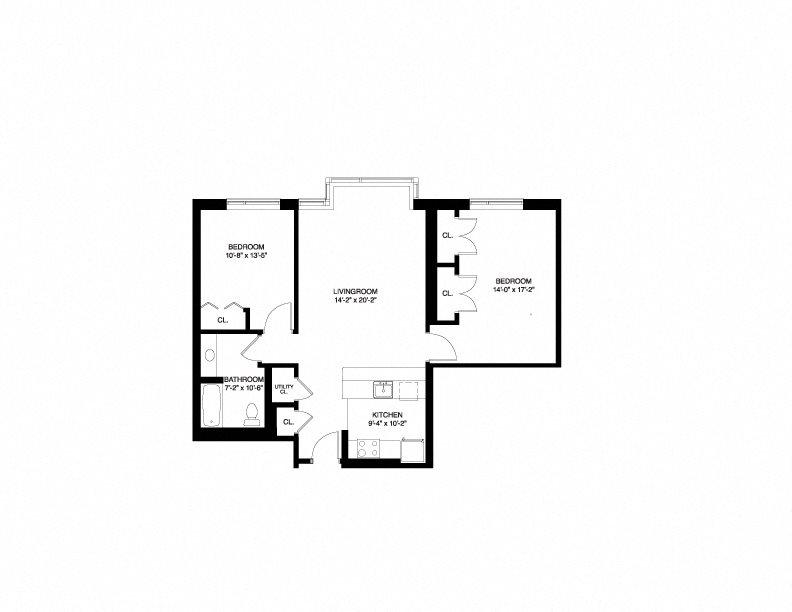 Market Wait List - 2 Bedroom Floor Plan 2