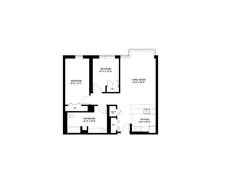 Affordable Wait List - 2 Bedroom Floor Plan 4