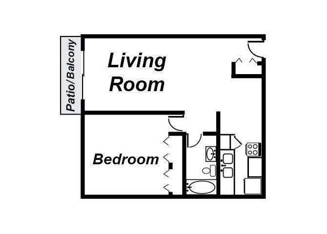 1 Bedroom Floorplan 1016 Chester Apartments