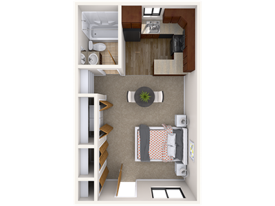 Studio Floor Plan 129 Burcham Apartments