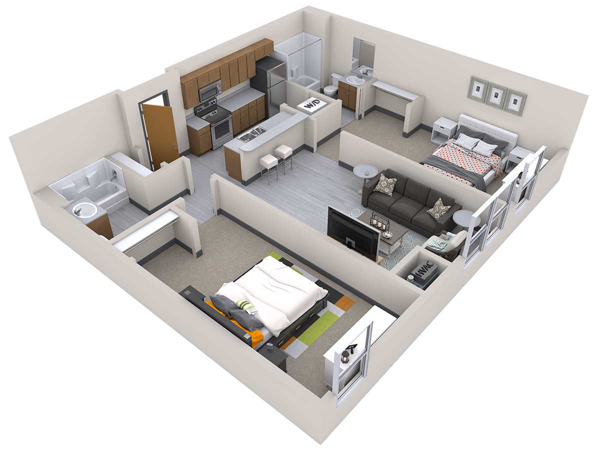 2 Bed 2 Bath for 2 people (rate per person) Floor Plan 3