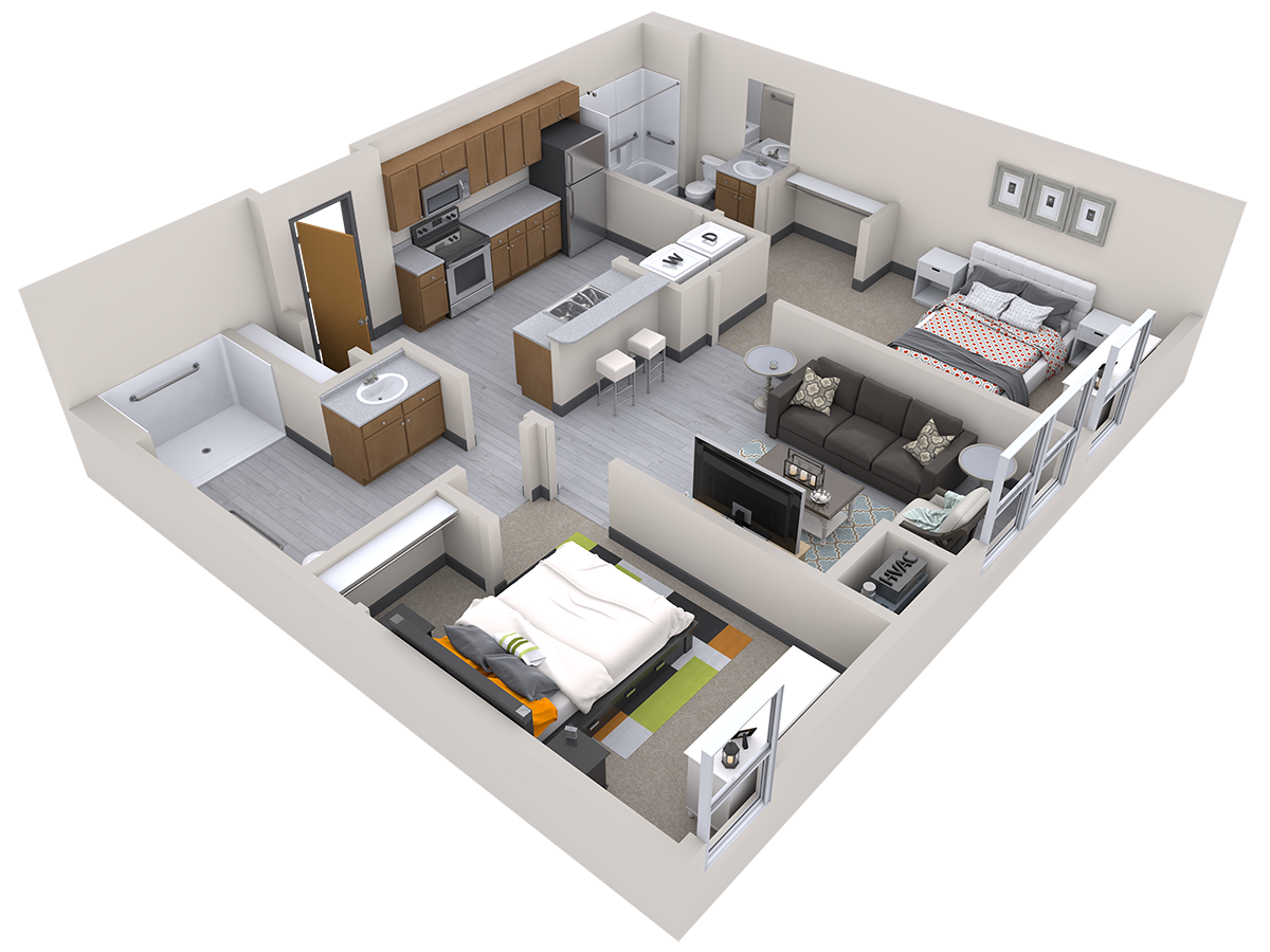 2 Bed 2 Bath for 3 people (rate per person) Floor Plan 4