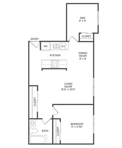 1 Bedroom with Den Floor Plan 1