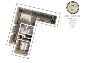 1 Bed 1 Bath Balcony