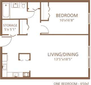 Cocheco Park 1-bedroom floor plan