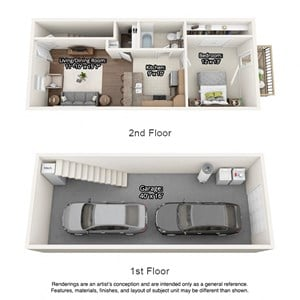 3D Floor plan layout for Rockingham Townhomes