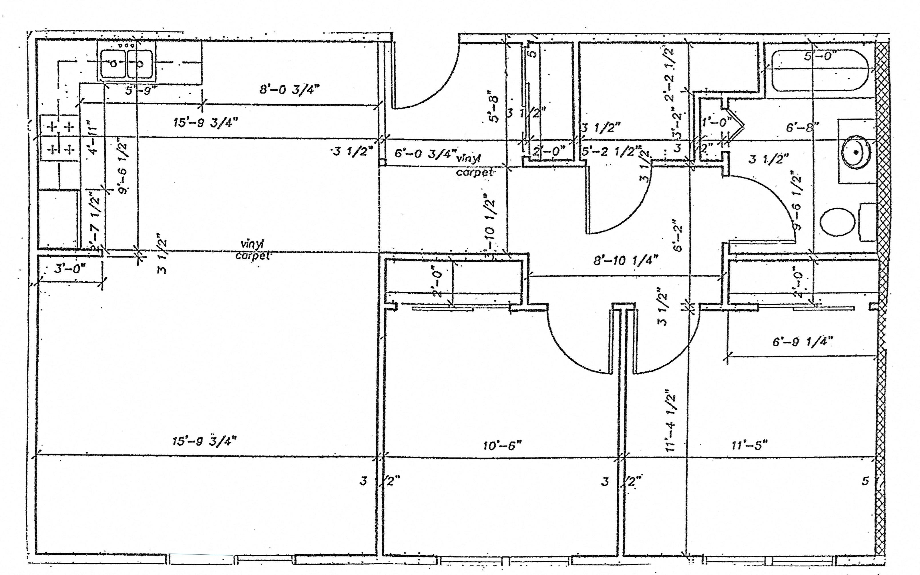 2 Bed 1 Bath Floor Plan 1