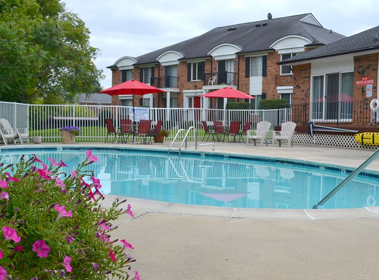 Swimming Pool with Lounge Chairs at French Quarter Apartments,Southfield,48034