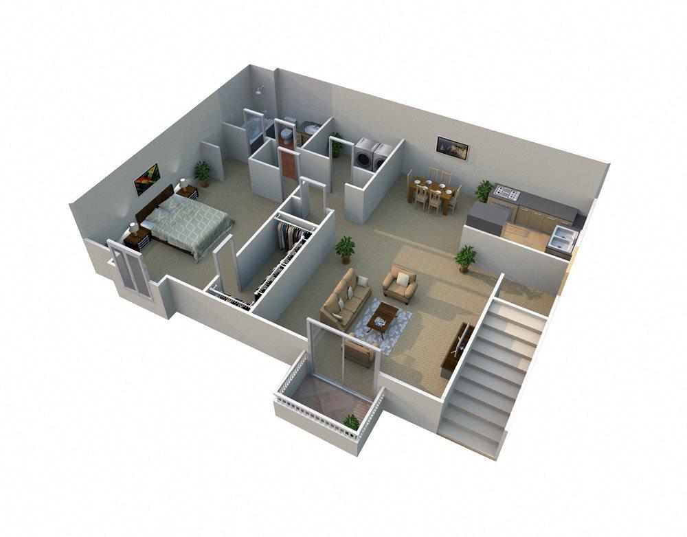 A 1 Bed 1 Bath Floorplan at Pilgrim Village - Canton, MI