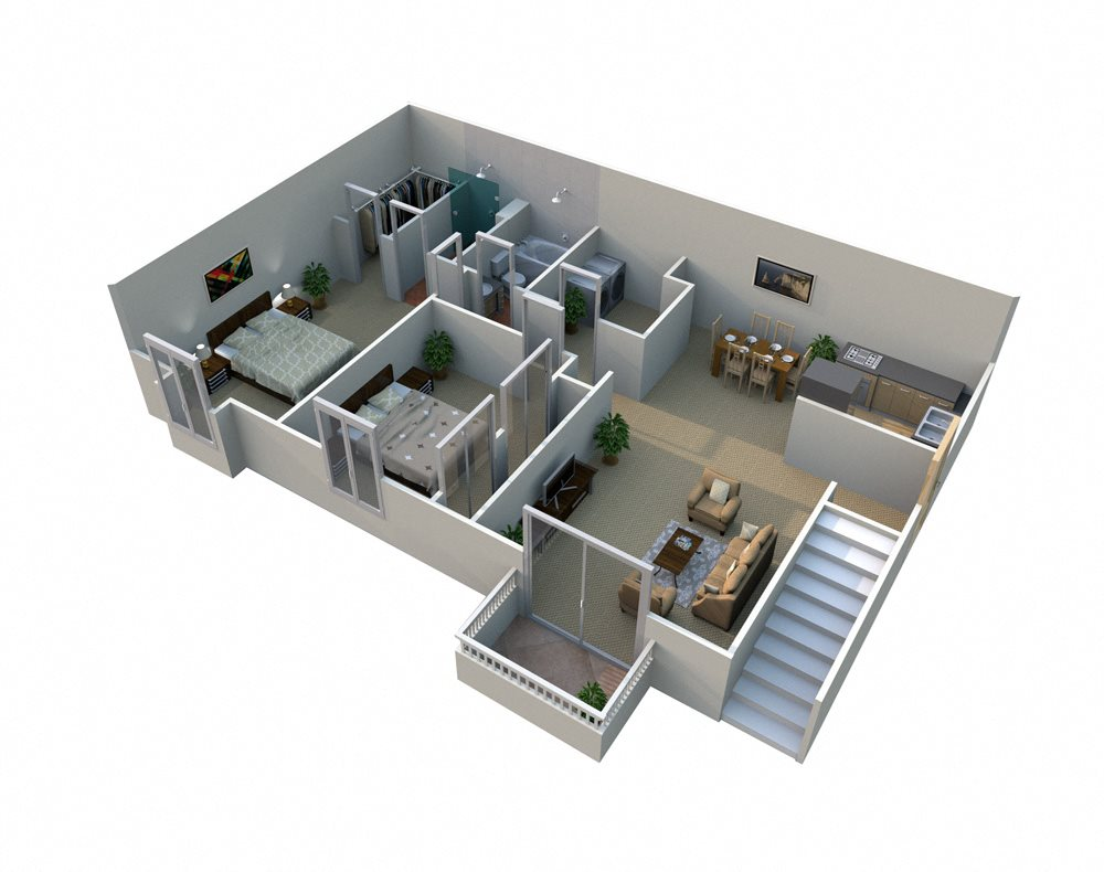 B 2 Bed 2 Bath Floorplan at Pilgrim Village - Canton, MI