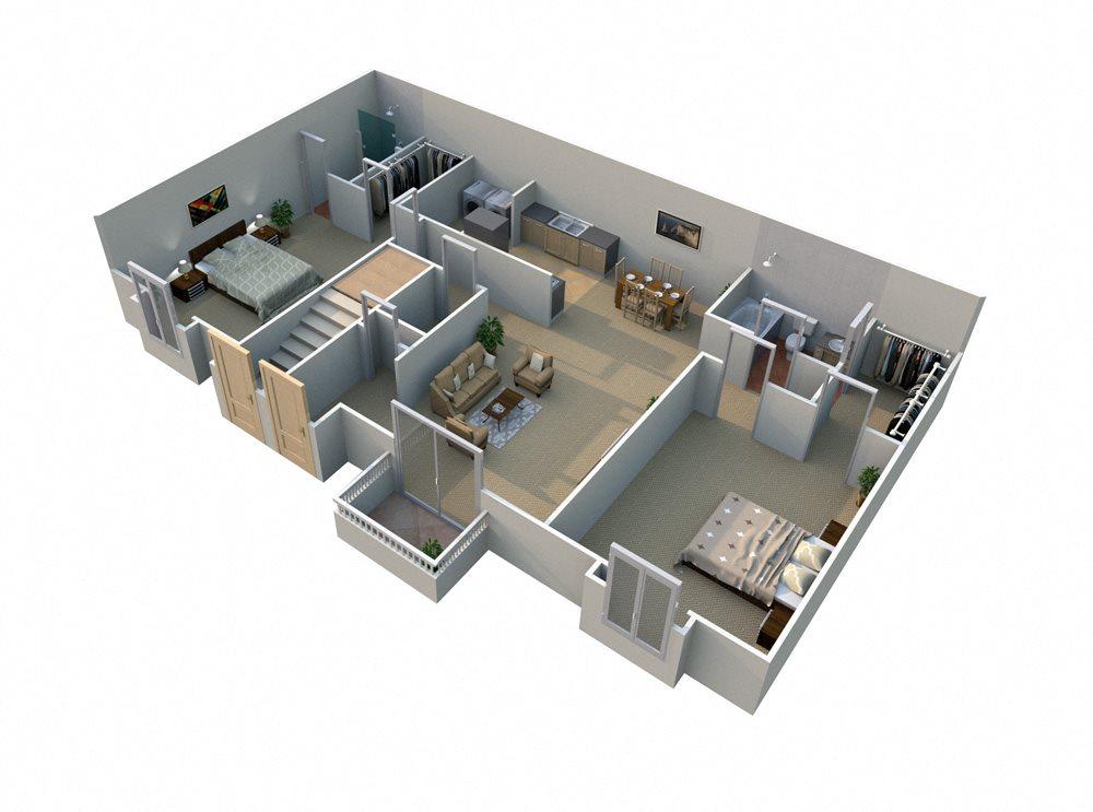 C 2 Bed 2 Bath Floorplan at Pilgrim Village - Canton, MI