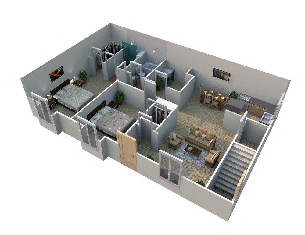 E 2 Bed 1 Bath Floorplan at Pilgrim Village - Canton, MI