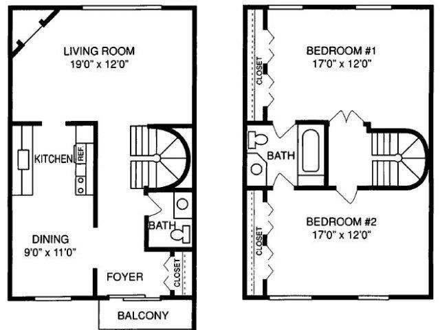 F 2 Bed 1.5 Bath Floorplan at Pilgrim Village - Canton, MI