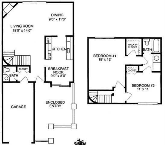 G 2 Bed 1.5 Bath Floorplan at Pilgrim Village - Canton, MI