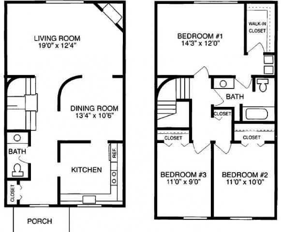 H 3 Bed 1.5 Bath Floorplan at Pilgrim Village - Canton, MI
