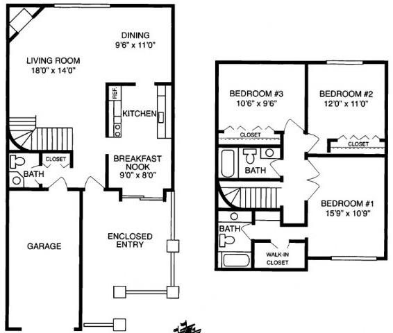 I 3 Bed 2.5 Bath Floorplan at Pilgrim Village - Canton, MI