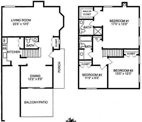 J 3 Bed 2.5 Bath Floorplan at Pilgrim Village - Canton, MI